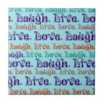 Live Laugh Love Encouraging Words Teal Blue Tiles