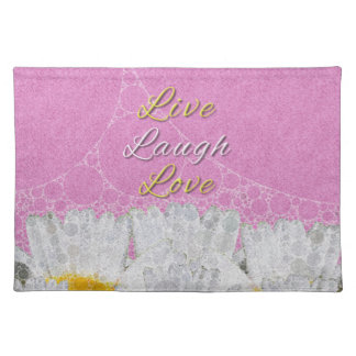 Live Laugh Love Flowers Cloth Placemat
