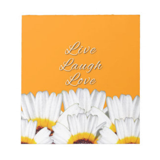 Live Laugh Love Flowers Notepad