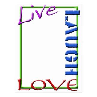 Live Laugh Love frame vertical Postcard