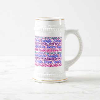 Live Laugh Love Girly Pink Zebra Stripes Print Beer Stein