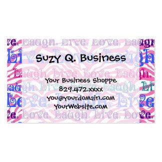 Live Laugh Love Girly Pink Zebra Stripes Print Business Card