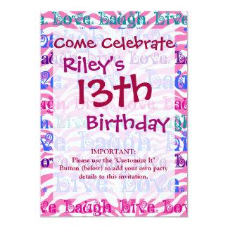 Live Laugh Love Girly Pink Zebra Stripes Print Card