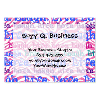 Live Laugh Love Girly Pink Zebra Stripes Print Large Business Card