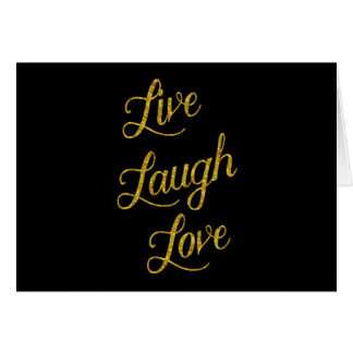 Live Laugh Love Gold Faux Glitter Metallic Sequins Card
