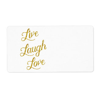 Live Laugh Love Gold Faux Glitter Metallic Sequins Label
