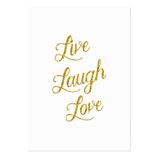 Live Laugh Love Gold Faux Glitter Metallic Sequins Large Business Card