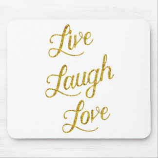 Live Laugh Love Gold Faux Glitter Metallic Sequins Mouse Pad