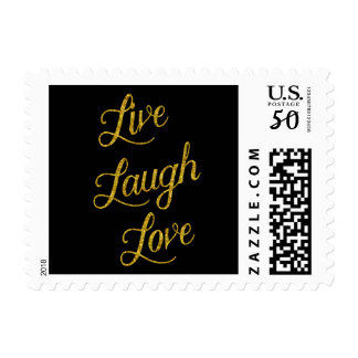 Live Laugh Love Gold Faux Glitter Metallic Sequins Postage