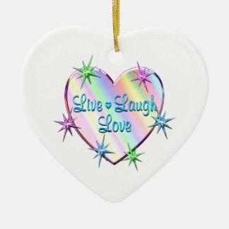 Live Laugh Love Heart Ceramic Ornament