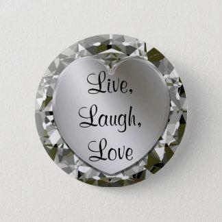 Live, Laugh, Love Heart & Diamonds Heart Pin