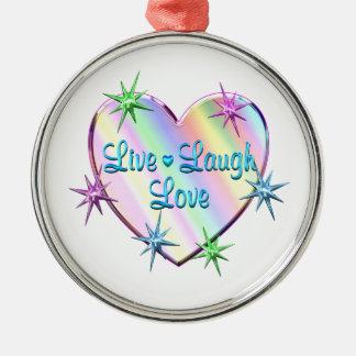 Live Laugh Love Heart Metal Ornament