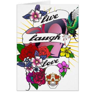 Live Laugh Love Heart Tattoo Design Card