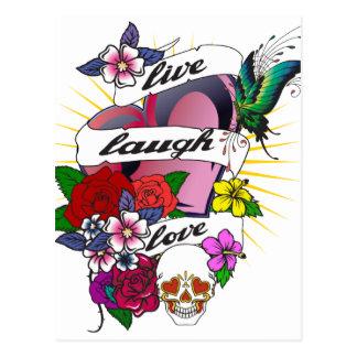 Live Laugh Love Heart Tattoo Design Postcard