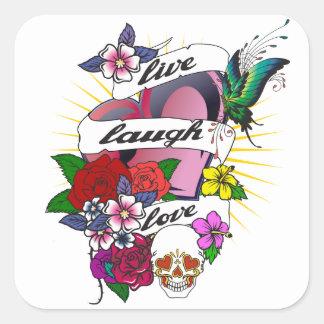 Live Laugh Love Heart Tattoo Design Square Sticker