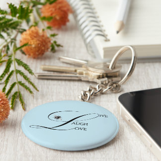 Live, Laugh, Love Inspirational Words & Bumble Bee Basic Round Button Keychain