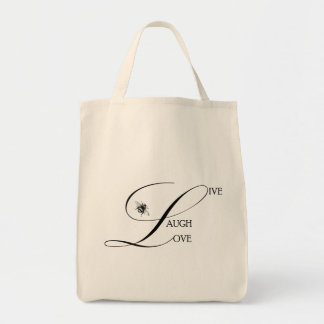 Live, Laugh, Love Inspirational Words & Bumble Bee Tote Bag