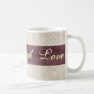 Live Laugh Love Ivory Lace and Plum Ribbon Mug