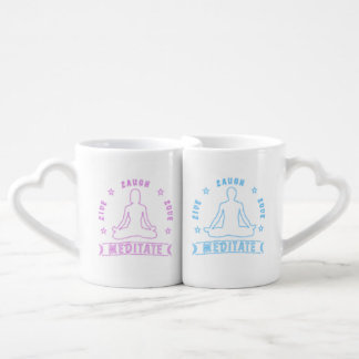 Live Laugh Love Meditate Couples' Text (neon) Coffee Mug Set