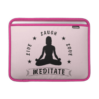 Live Laugh Love Meditate Female Text (blk) MacBook Sleeve