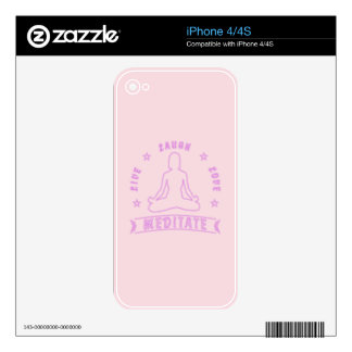 Live Laugh Love Meditate Female Text (neon) Skin For iPhone 4S