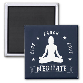 Live Laugh Love Meditate Female Text (wht) Magnet