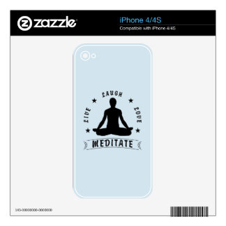 Live Laugh Love Meditate Male Text (blk) iPhone 4 Skins