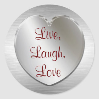 Live, Laugh, Love On Silver Heart Stickers