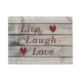 Live Laugh Love on the side of a barn Doormat