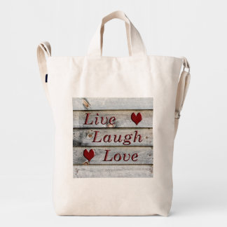 Live Laugh Love on the side of a barn Duck Bag
