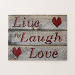 """Live Laugh Love on the side of a barn Jigsaw Puzzle<br><div class=""""desc"""">Live, Laugh, Love are important words to live by in life and should be found in everybody&#39;s home. This particular design was created by Debbie Quick of Debs Creative Images. The background is of this image is the side of a barn in Crown Point, NY. To see photography by Debbie,...</div>"""