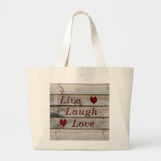 Live Laugh Love on the side of a barn Large Tote Bag