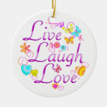 Live Laugh Love Double-Sided Ceramic Round Christmas Ornament