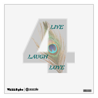 Live Laugh Love Peacock Feather 4 Wall Decal