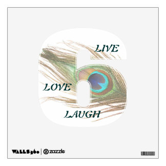 Live Laugh Love Peacock Feather 6 Wall Decal