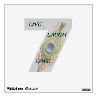 Live Laugh Love Peacock Feather 7 Wall Decal