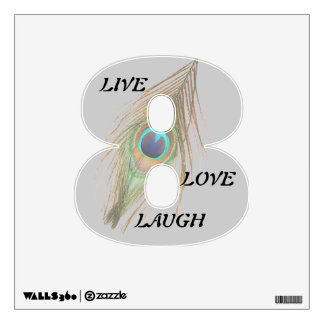 Live Laugh Love Peacock Feather 8 Wall Decal