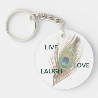 Live Laugh Love Peacock Feather Acrylic Round Key Keychain