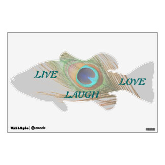 Live Laugh Love Peacock Feather Bass Wall Decal