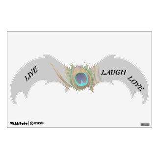 Live Laugh Love Peacock Feather Bat Wall Decal