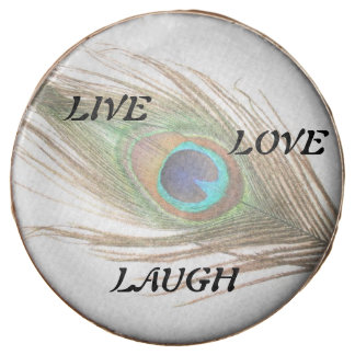Live Laugh Love Peacock Feather Chocolate Dipped Oreo