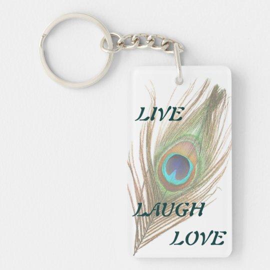 Live Laugh Love Peacock Feather Double Acrylic Key Keychain