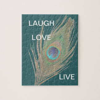 Live,Laugh,Love Peacock Feather Jigsaw Puzzle
