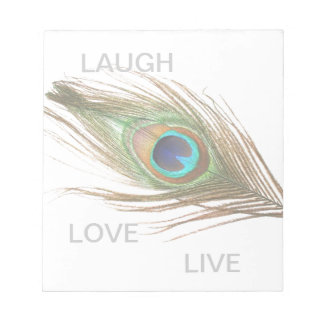 Live,Laugh,Love Peacock Feather Notepad