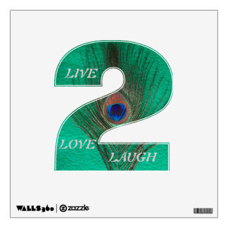 Live Laugh Love Peacock Feather on Green 2 Wall D Wall Decal