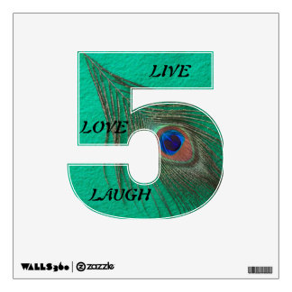 Live Laugh Love Peacock Feather on Green 5 Wall D Wall Decal