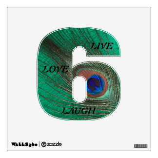 Live Laugh Love Peacock Feather on Green 6 Wall Wall Decal