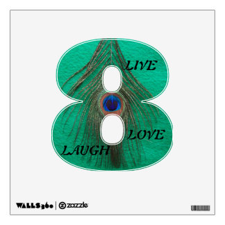 Live Laugh Love Peacock Feather on Green 8 Wall D Wall Sticker