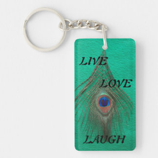 Live Laugh Love Peacock Feather on Green Acrylic K Keychain