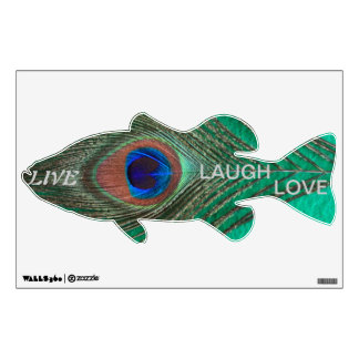 Live Laugh Love Peacock Feather on Green Bass Wall Wall Sticker